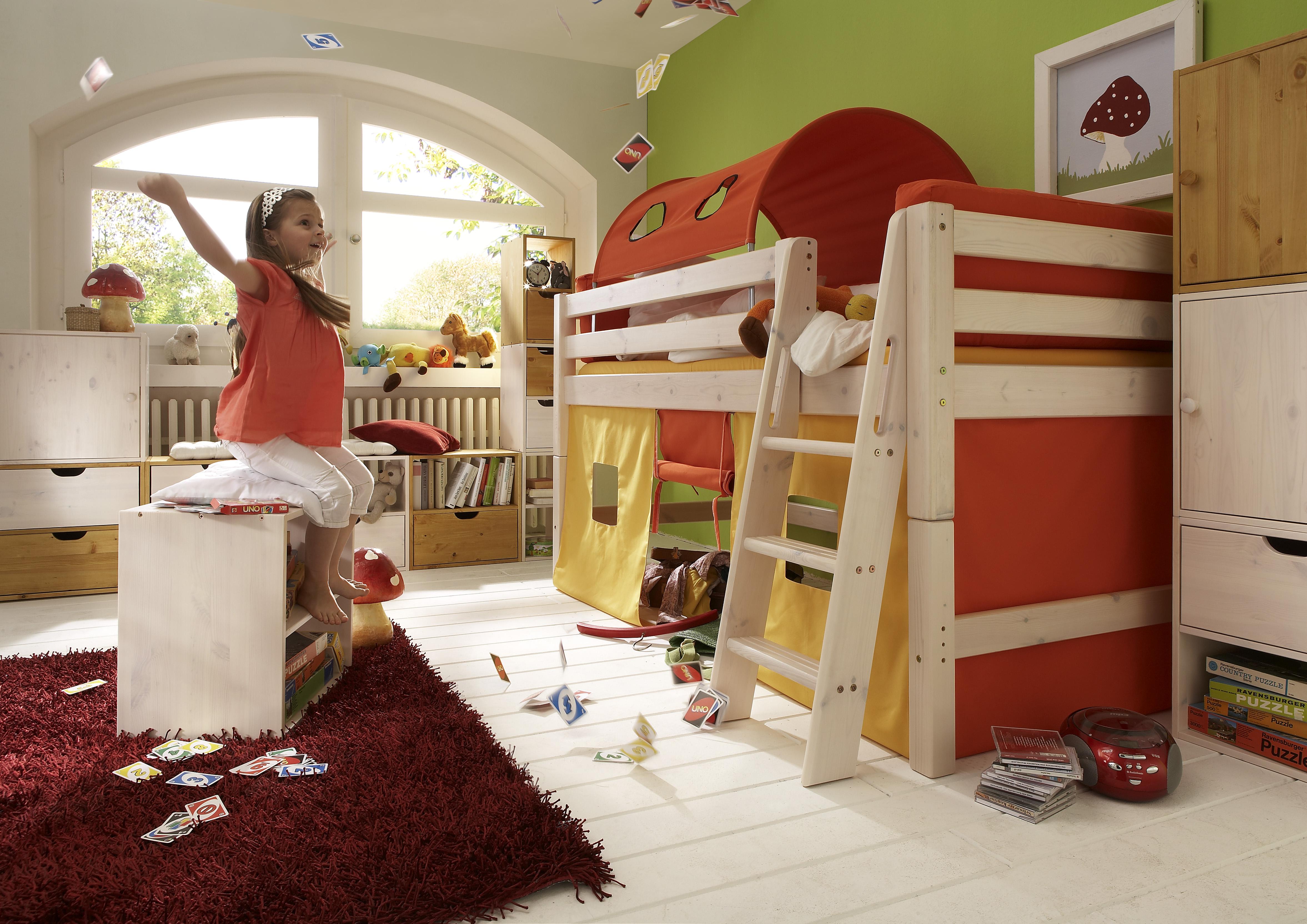 """Kinderbett """"Coral Rot"""" halbhoch mit Leiter"""