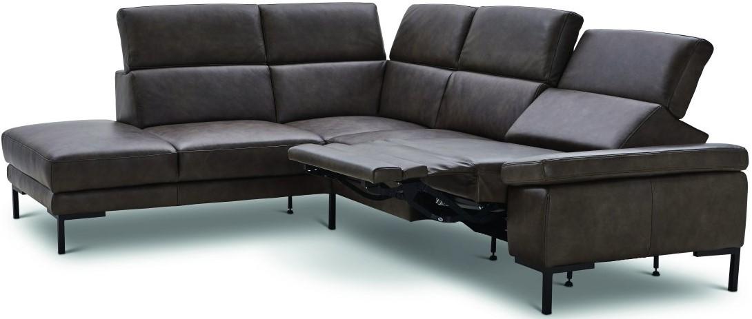 Ecksofa Hudson - Ecke links, 2,5-Sitzer, Kopfteil verstellbar (manuell), Sitzvorzug/Relaxfunktion (motorisch), Leder braungrün