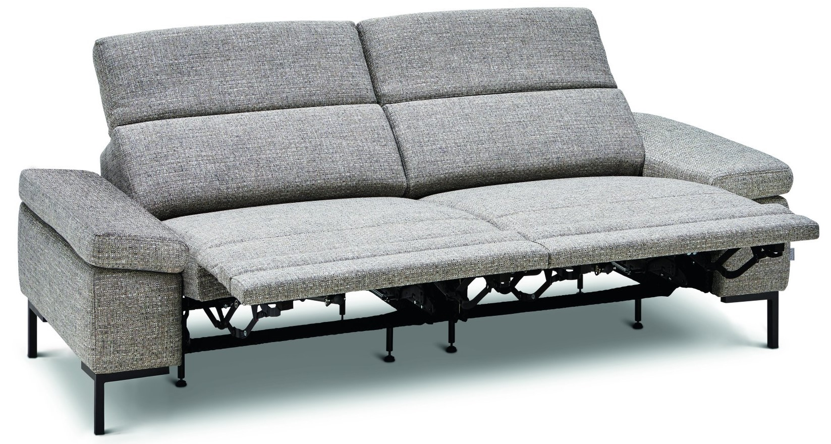 Sofa Hudson - 3-Sitzer, Relaxfunktion (motorisch), Kopfteil verstellbar (manuell), Stoff grau