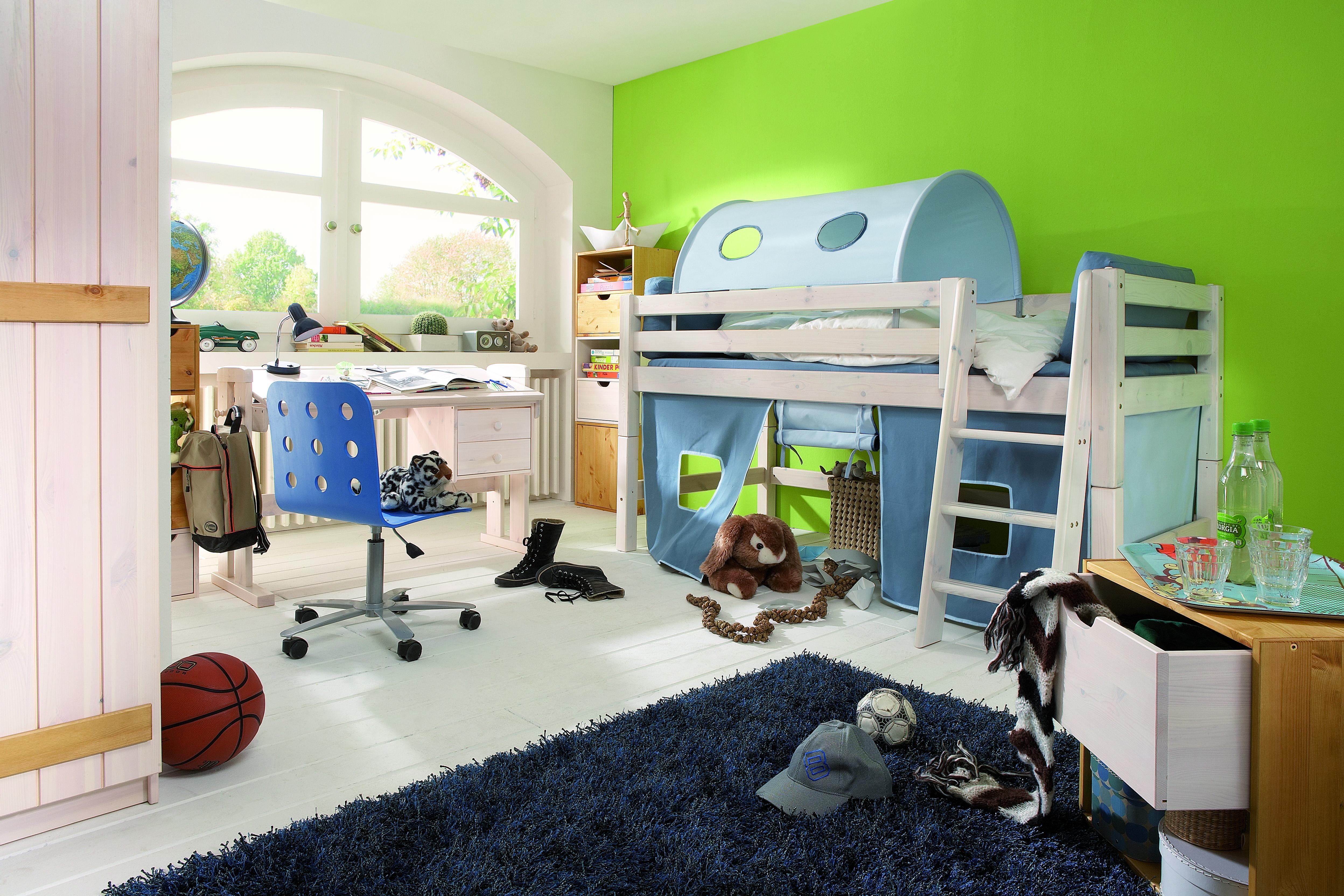 """Kinderbett """"Coral Blau"""" halbhoch mit Leiter"""