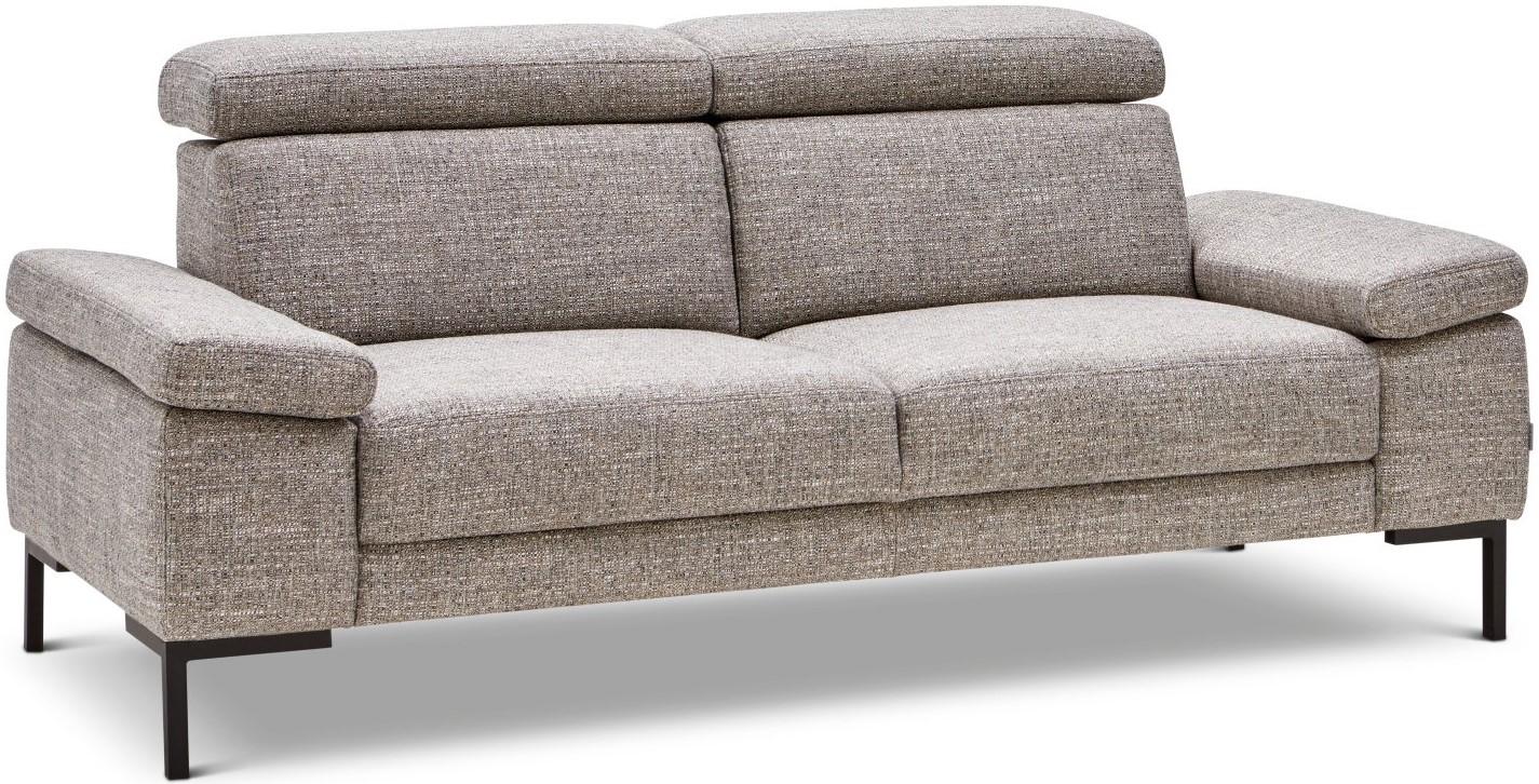 Sofa Hudson - 2,5-Sitzer, Kopfteil verstellbar (manuell), Stoff grau