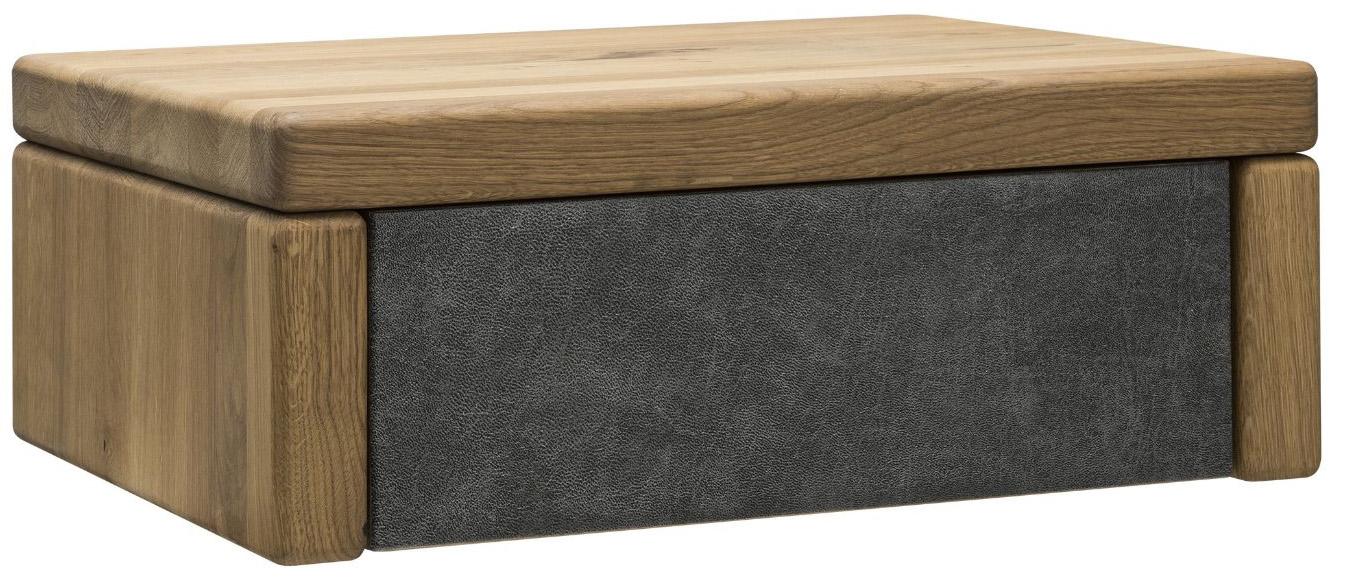 Nachttisch 1660 - Wildeiche massiv, geölt, Schubladenfront bezogen, Stoff, Graphit Holzfarben
