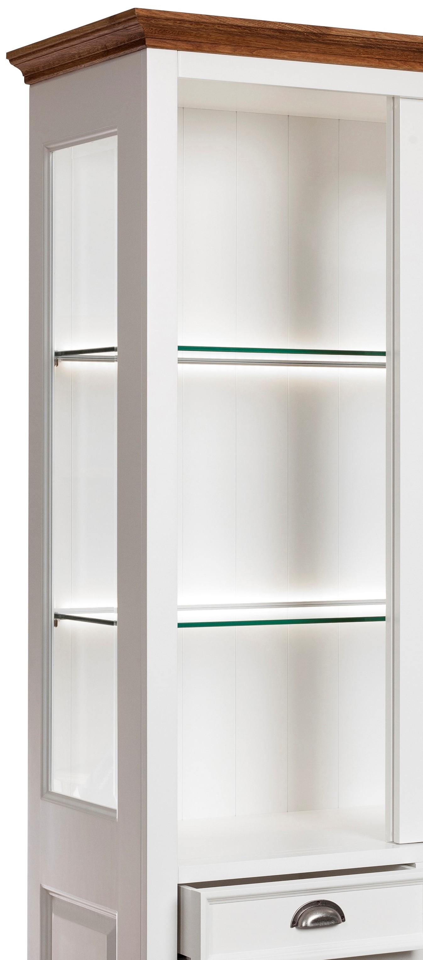 Modesto Doppelvitrine mit Schiebetüren weiß aus Birke/MDF